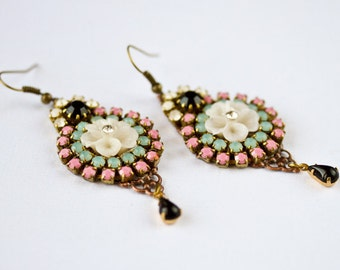 Swarovski Rhinestones Earrings - Colorful Unique Glass Dangle Earrings, Pink, Aqua Blue, Gold Elegant Boho Chic Earrings, Gipsy Style