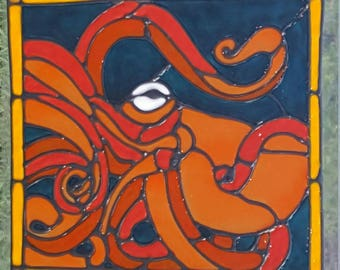 Octopus Kracken stained glass window Cling