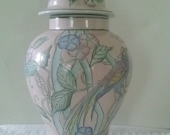 Pink Floral Ginger Jar 11 inches tall. Beautiful floral and bird design.