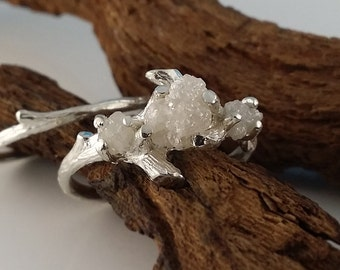 White Gold Raw Three Diamond Engagement Ring Set, Rough Uncut Diamond Wedding Ring Set, Hand Sculpted Twig Bridal Ring Set