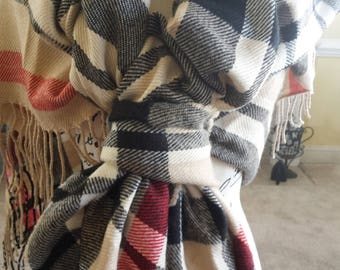 Beige/Black/Red  Checker Pattern Rana Scarf