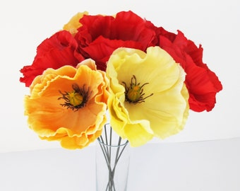 "Poppies Bouquet 7 Red Yellow Orange Poppies Artificial Flowers Silk Poppy 4.3"" Flower Wedding Anemones Supplies Faux Fake Anemone"