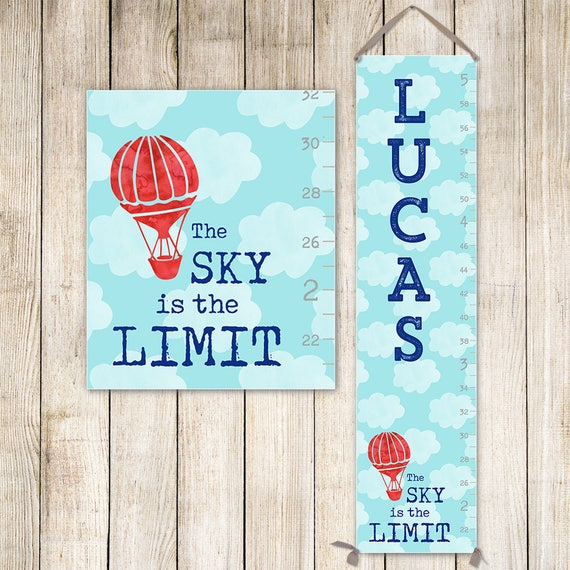 Boy Growth Chart - Canvas Personalized Growth Chart, Hot Air Balloon, Growth Chart Sky - GC3007S