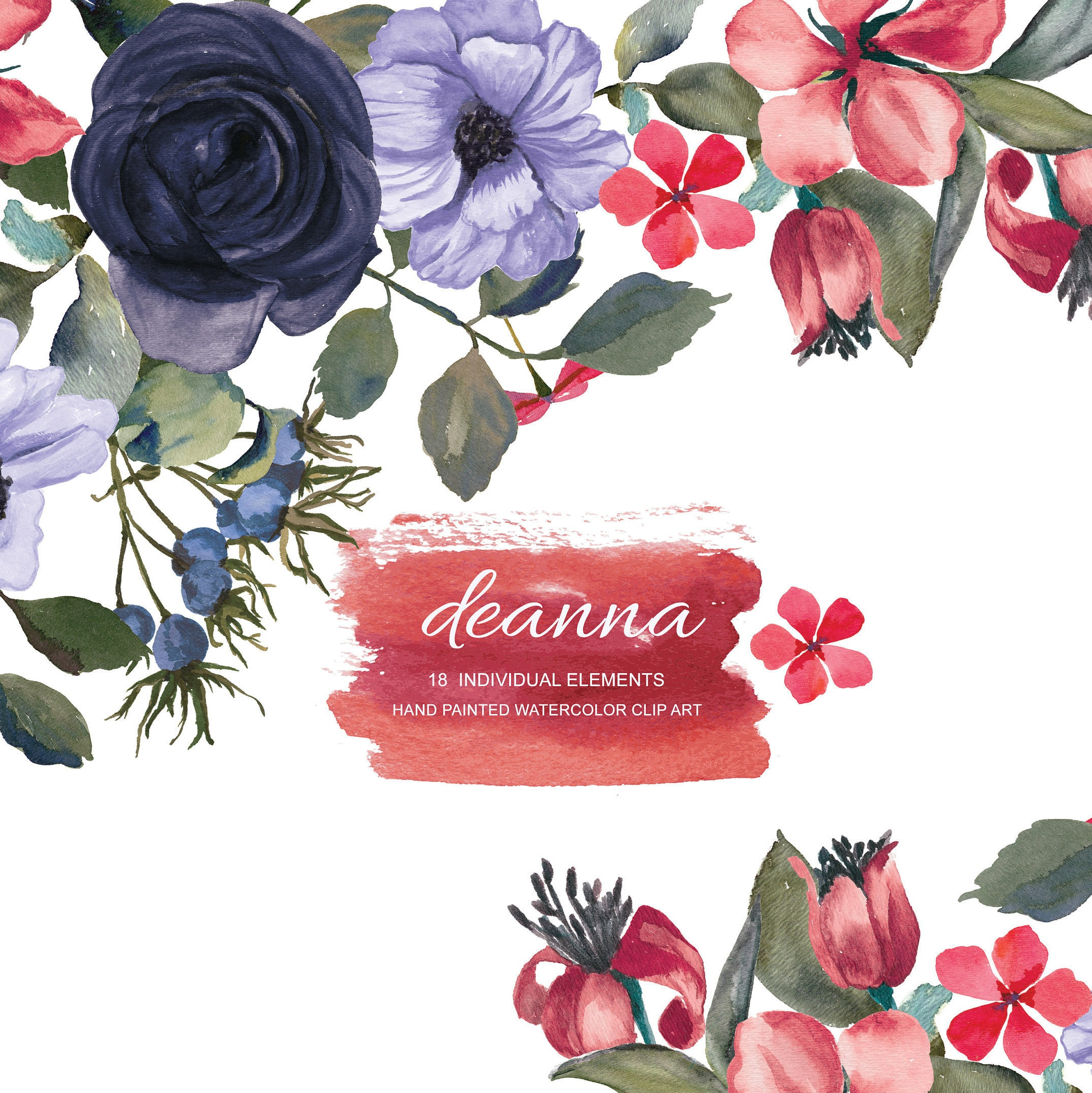 Dark Blue Red Watercolor Flower Clipart Separate Elements Hand