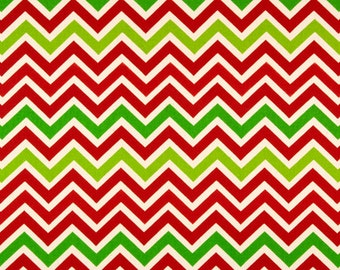 Christmas Chevron fabric by the YARD lipstick red chartreuse green natural Home Decor upholstery pillow runner zoom SHIPsFAST