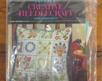 Vintage AVON crewel embroidery pillow kit