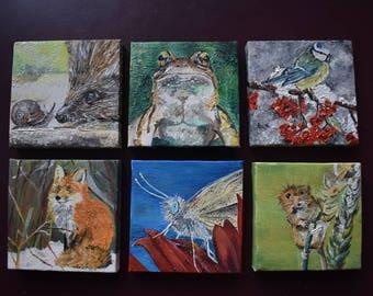 British Wildlife Miniature Oils (with Stands)