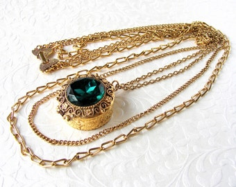 Large Locket Necklace Long Multi Chain Emerald Green Glass Rhinestone Gold Tone Lace Filigree Boho Chic Renaissance Vintage Costume Jewelry