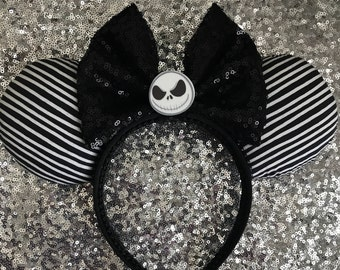 Jack Skellington Black & White Striped Minnie / Mickey Mouse Ears