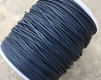1mm Deep Blue Leather Round Cord