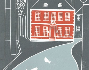 York Red House Linocut- Architecture - Grey and Red  Linocut Print - Limited Edition - UK - Yorkshire Original Print by Giuliana Lazzerini