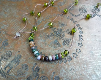 Fancy Jasper and Glass Hippie Necklace Over the Head hemp knotted Cord