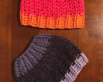 Chloe Bella Ponytail Hat Crochet Pattern --- Messy Bun Hat