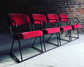 Stunning Cinema Seats Vintage Retro Mid Century Industrial Style Bank of Four