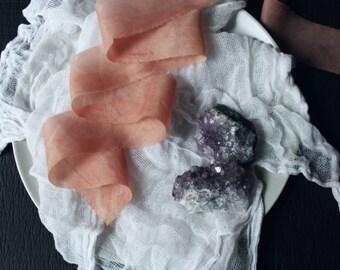 TEA ROSE organic hand-dyed silk ribbon