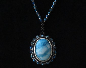 Beaded Cabochon Pendant Necklace