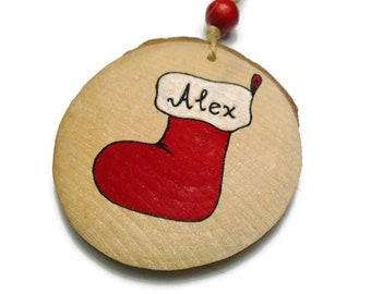 Personalized Christmas Gift - Stocking Ornament - Santa Boot Decoration - Santa Boot Ornament - Name Christmas Ornament- First Xmas Ornament
