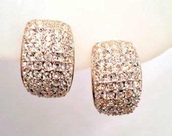 Signed ROMAN Pave Clear Crystal Rhinestone Earrings Signed Clip On Gold Tone