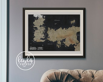 Game of Thrones Map - Westeros and the Free Cities | A6/A5/A4/A3 Illustration Print | GoT Poster | For Him, For Her