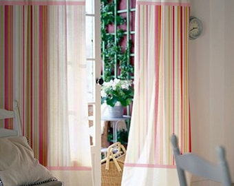 Window curtains / Nursery curtains / Kids curtains / White and shades of pink striped curtains / Select size / Tab tops or Clips