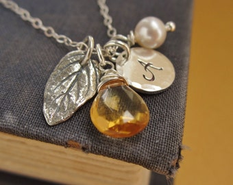 Autumn leaf necklace, personalized initial necklace, november birthstone necklace, custom initial, citrine, sterling silver leaf charm,