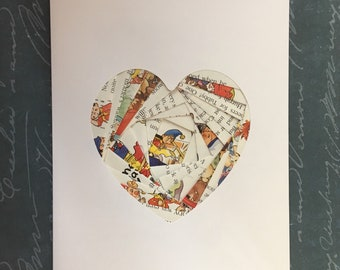 Iris folded heart shape greeting card -  Noddy book pages (bell hat)