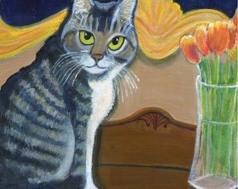 """Cat art card, """"Cassie with Tulips"""", 5"""" x 5"""" blank greeting card"""