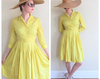 Vintage 1950s Yellow Shirtdress / 50s Long Sleeved Belted Cotton Dress Button Down Closure Westbury / Small