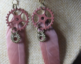 """steampunk gears """"1"""" with feather earrings"""