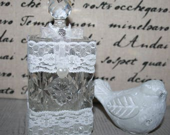 Shabby lace decorated with Crystal vial