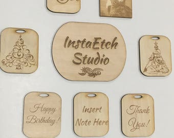 Personalized Wooden Engraved Gift Tags (Set of 10)