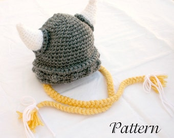 Viking baby hat PDF crochet PATTERN 0-6 month gray white yellow beanie cap horns braided Norse costume infant grey hair soft helmet