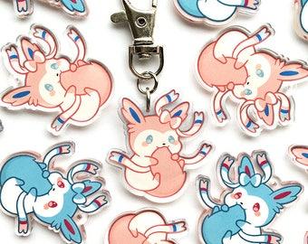 "Cute Chubby Sylveon Eeveelution Kawaii Fox Baby Animal 1.5"" Acrylic  Keychain Charm"