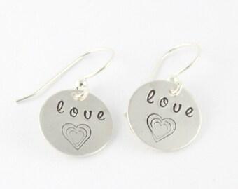 Heart Earrings - Love Earrings - Sterling Silver Earrings - Valentine's Day Gift for Mom - Dangle Earrings - Drop Earrings - Gift for Her