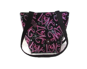 Love Purse, Small Fabric Bag, Pink Hearts, Flowers, Love Graffiti, Black Cloth Purse, Handmade Handbag, Teen Purse