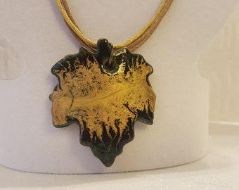 Golden fallen leaf outumn colored jewelry Art painted pendant pebeo painting clay jewelry gift for her