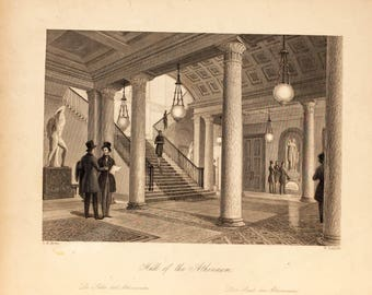 W. Radclyffe, Hall of the Athenaum, Vintage Engraving, 19th century
