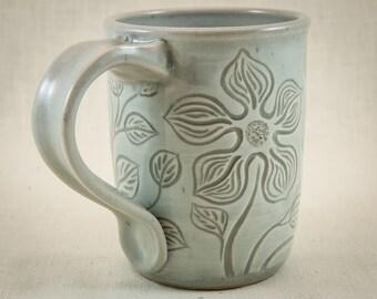 Hand Carved Pottery Mug - 13 oz Stoneware Coffee Cup - Botanical Carved Tea Mug - One of a Kind Tea Cup - Flowers and Leaves Ceramic Mug