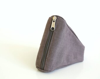 Organic cotton pouch, light brown pouch, coin purse, mini organizer, zipper pouch, mini bag, pouch, key purse - The Light Brown Sushi Pouch