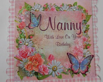 Pack 2 Happy Birthday Nanny Topper Embellishments for cards and crafts