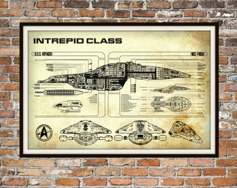 Star Trek Voyager Blueprint Art of Intrepid USS Voyager Class Technical Drawings Engineering Drawings Patent Blue Print Art Item 0100B