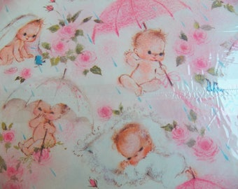Vintage Baby Gift Wrap, Hallmark Pink Baby Shower Wrapping paper, One sheet plus, Shower gift wrap, Scrapbook paper,  Baby Book Craft