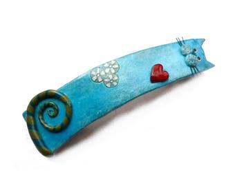 CAT Hair BARRETTE French CLIP, blue cat handmade polymer clay, christmas gift for her, cat lovers gift, gift idea for a girl, long hair clip