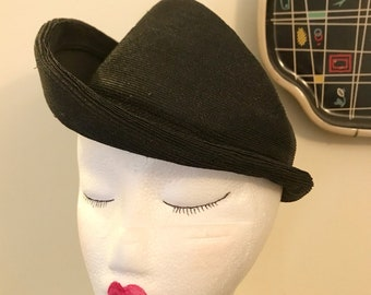 Vintage 1930s 1940s Black Straw Tilt Hat