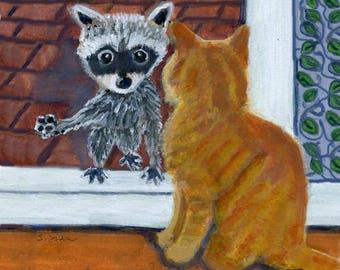 "Raccoon and cat  art card,   ""Hello Friend,"" 5"" x 5"" blank art card"