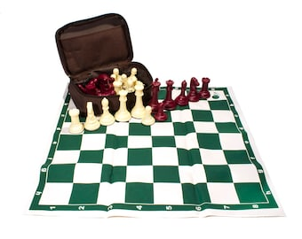 Professional Tournament Chess. Weight 2.64 Lb (1.2 Kg). 32 Pieces: Burgundy - Ivory