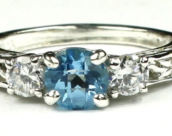Swiss Blue Topaz w/ Two 4mm CZ Accents, 925 Sterling Silver Engagement Ring, SR254