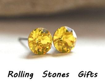 Light Topaz Studs, Yellow Crystal Studs, Rhinestone Studs, Swarovski, Crystal Stud Earrings, 7.27mm, Yellow Crystal Earrings, Rostone