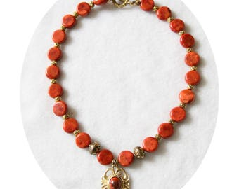Red and gold medieval necklace, necklace red coral and gold spirit medieval red coral and Gold Medallion necklace red and gold, coral necklace