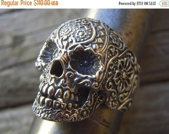 ON SALE SALE...Large sugar skull ring in sterling silver 925